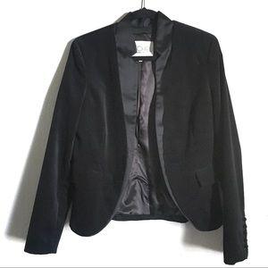 RACHEL Rachel Roy Fitted Black Velvet Blazer